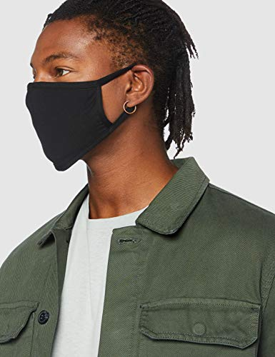 FM London Accessories Reusable Fabric Face Mask, 100% Cotton, Black, Standard Size (pack of 10)