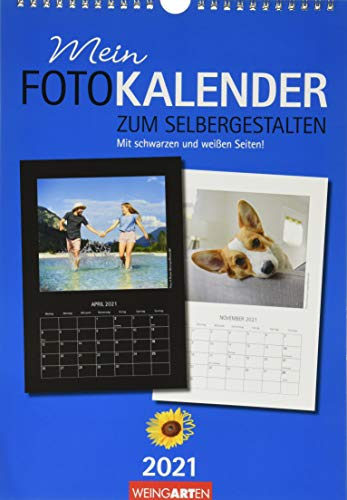 Fotokalender zum Selbergestalten 23 x 33 cm Kalender 2021: Mit schwarzen und weißen Seiten