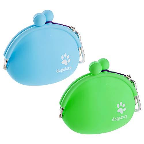 Popuppe 2 STK Hunde Futterbeutel Dog Cat Treat Pouch, Silikon Cat Dog Training Bag Tragbare Dog Treat Taschen, blau und grün