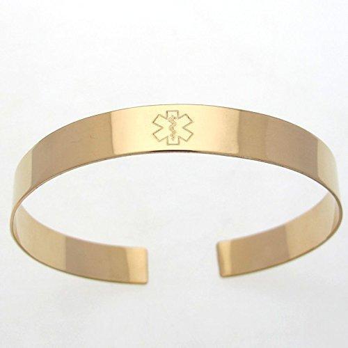 personalized id allergy bracelet gold medical alert medical identification medical ID Custom medical alert bracelet diabetic jewelry