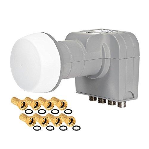 Fuba Quad LNB LNC 4 Teilnehmer Direkt (Quattro Switch) DEK 416 ■ OHNE ORIGINALVERPACKUNG ■ Wetterschutz (ausziehbar) ■ Full HD TV 3D 4K ■ 8 Vergoldete F-Stecker von HB-DIGITAL