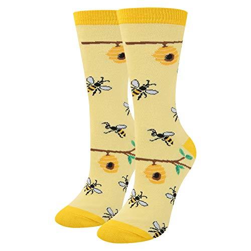 Women Girls Busy Bees Crew Cotton Socks
