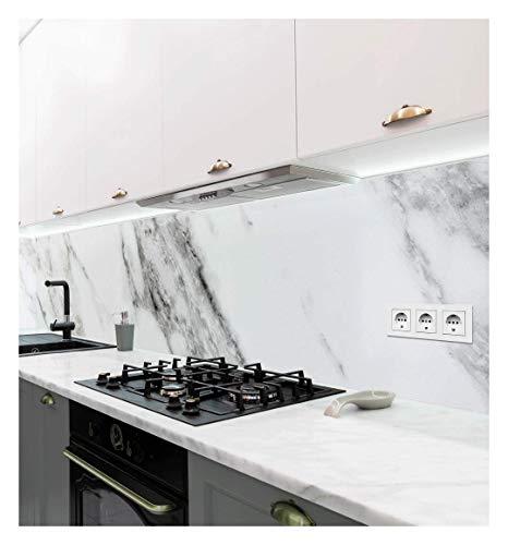 MyMaxxi | selbstklebende Küchenrückwand Folie ohne bohren | Aufkleber Motiv Marmor weiß | 60cm hoch | adhesive kitchen wall design | Wandtattoo Wandbild Küche | Wand-Deko | Wandgestaltung