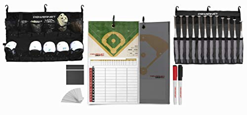 PowerNet Ultimate Coaching Team Bundle | Magnetic Lineup Board | Hanging Helmet Organizer | Fence Caddy for 12 Bats (Black)