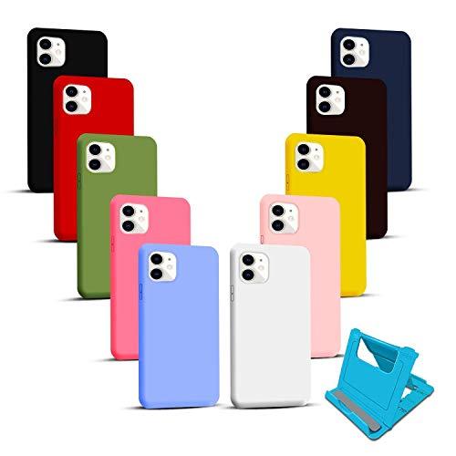 Iuveruln 10X Cover per iPhone 11 6.1 Pollici + Porta Telefono, Case Morbido Silicone, Custodia TPU AntiGraffio,Cover Flessibile Ultrasottile Tinta Unita