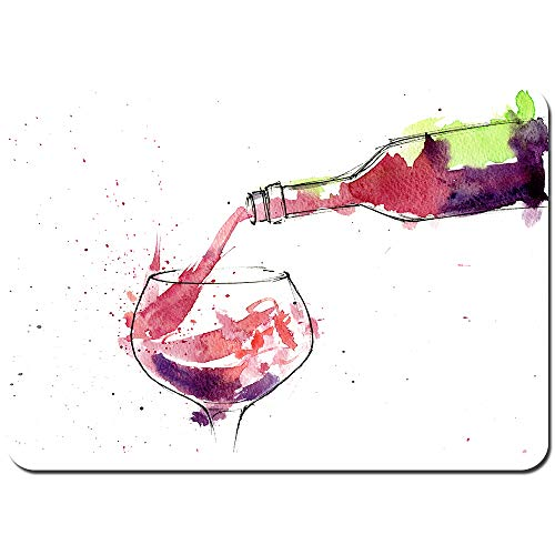 Wdoci Antideslizante Alfombra De Baño,Botella de Vino Tinto salpicando,Alfombra de Cocina Alfombra Mascota,Alfombras de Ducha 80x60cm