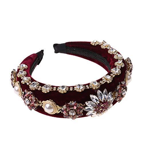 jumpXL Mujeres estilo barroco real joyería de lujo diadema industria pesada flor de diamantes de imitación salvaje aro esponja acolchada accesorios para el cabello bandas