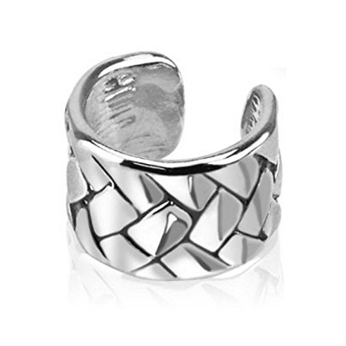 Plateado Ear Cuff studs Tejido para mujer/Conch Fake clip-Piercing rodio