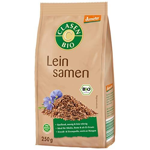 CLASEN BIO Demeter Leinsamen ganz, glutenfrei und naturbelassen - 250 g