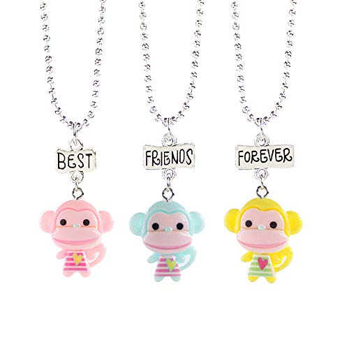 Reliablee Cute Monkey Pendant BFF Best Friend Forever Necklaces for 3 Girls Boys. Friendship Accessories Gifts.