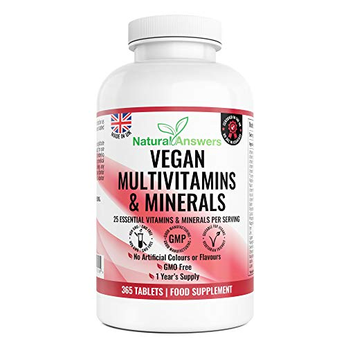 Multivitamins & Minerals - 365 Vegan Multivitamin Tablets - 1 Year Supply - Multivitamin Tablets for Men and Women with 25 Essential Active Vitamins & Minerals - Made in The UK by Natural Answers