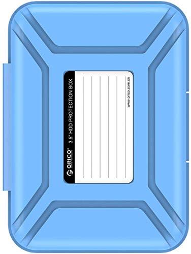 ORICO Festplattentasche Schutztasche Schutzbox,Aufbewahrungstasche für 3,5 Zoll Festplatten und SSD/HDD,Hard Case Erschütterungsfeste Schutzbox,Blau