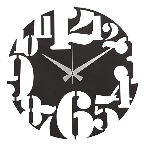 HOME MANIA UNO Wanduhr, Metall, Durchmesser 50 cm schwarz