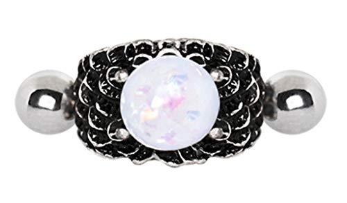 eeddoo® HELIX OHR-PIERCING aus EDELSTAHL antik silber mit Opal Drachenkugel