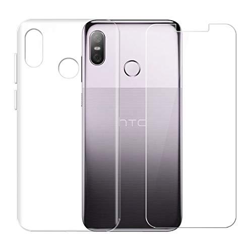SCDMY pour HTC U12 Life Coque + Verre Trempé écran Protecteur,Ultra-Thin Transparent Protection Case Souple Silicone TPU Bumper Etui pour HTC U12 Life (6.0 Pouce) -Clear