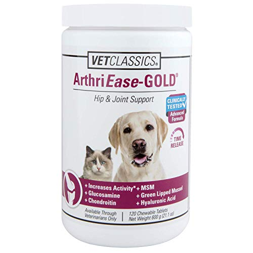 Vet Classics ArthriEase-Gold Hip & Joint Support for Dogs, Cats, Horses – Chewable Tablet Health Supplement – Alleviate Aches, Discomfort – for Flexibility, Healthy Joint – Antioxidant - 120 Ct