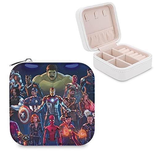Avenger Hulk Iron Man Groot Joyero de piel sintética de viaje portátil, para collar, pendientes, pulseras, anillos, relojes, caja de almacenamiento para mujeres