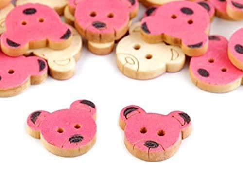 Preisvergleich Produktbild 5 x Holzknöpfe Bär pink 18mm Knöpfe Babyknöpfe Motivknöpfe neu