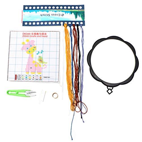 Exceart Borduurpakket Kit Giraf Patronen Borduurstof Kleur Draden Kruissteek Printen Met Frame Voor Diy Ambachtelijke Volwassen Beginner (Lichtgeel)