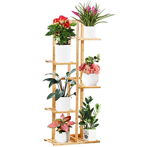 Bamboo Tiered Plant Stand Indoor Outdoor Tall Plant Stands Multiple Flower Pot Holder Shelf Planter Display Rack for Corner Living Room Patio Garden Balcony