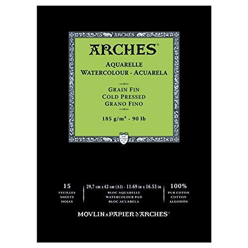 Arches Aquarelle Blocco 20/fogli 185/g grana strofinaccio bianco naturale grana ruvida 18 x 26 cm bianco