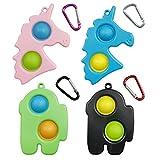 4 Pack Push pop Fidget Toys Set, Push pop pop Dimple Sensory Fidget Toys, Mini ADHD Autism Stress Reliever Fidget Toy Keychain School Office Crafts Party Favors