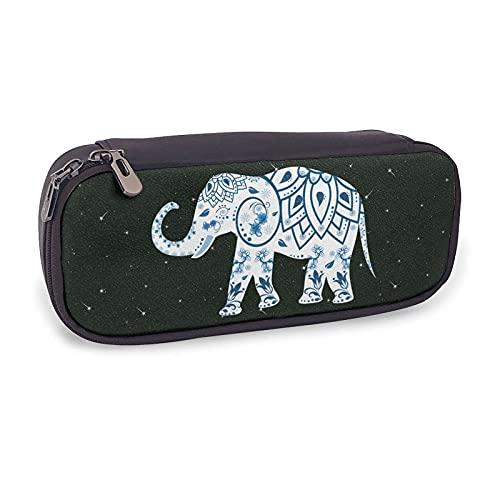 Estuche de piel con diseño de elefante con diseño floral para niñas y adultos
