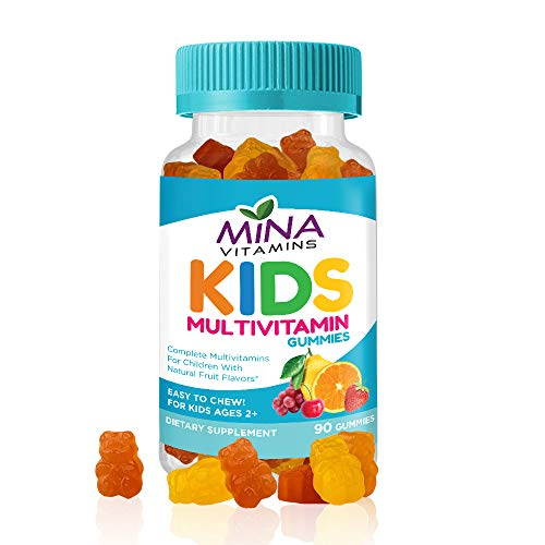 Mina Vitamins Daily Children's Halal Gummy Multivitamins – 13 Essential Vitamins and Minerals with Antioxidants – Vegetarian, Non-GMO, Gluten, Free (90 Count)