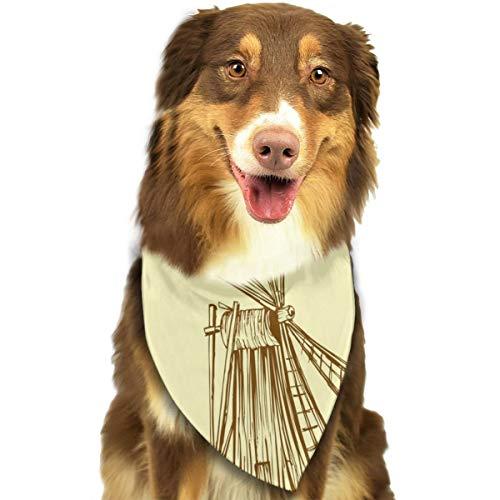 Oude Molen Windmolen Gele Achtergrond Aangepaste Hond Kat Bandana Driehoek Bibs Sjaal Huisdier Geschikt voor Kleine Tot Grote Hond Katten