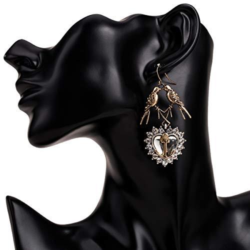 WANG XIN Diamantes exagerados Pendientes de Animales de múltiples Capas de Amor Pendientes Bohemios de Moda de Mujer