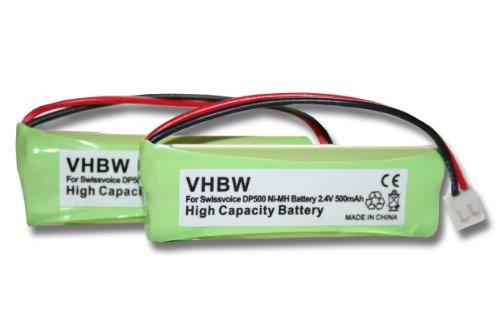 vhbw 2X NI-MH Akku 500mAh (2.4V) passend für Festnetz Telefon Medion MD83242, MD83282 ersetzt VT50AAAALH2BMJZ, GP1010, GPHC05RN01.