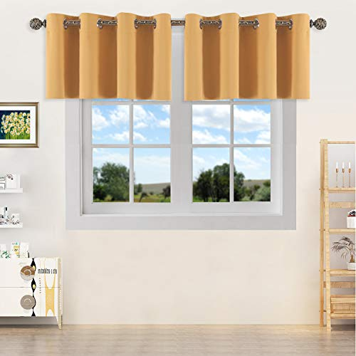 YGO Thermal Insulated Blackout Kitchen Valances Energy Efficient Grommet Top Valance Drapes for Small Window Yellow Double Panels W 52 x L 18 Inch