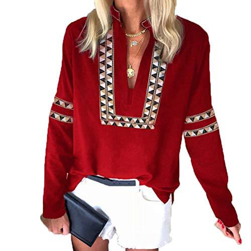 Herbst Und Winter Gestreiftes V-Ausschnitt Langarm Casual Ladies Shirt Top