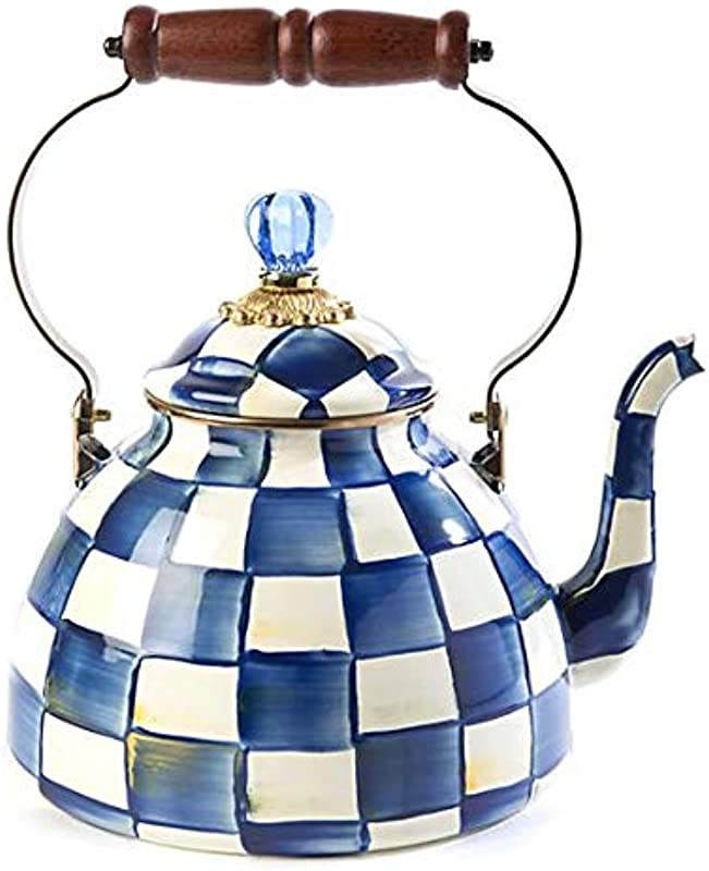 MacKenzie Childs Royal Check Enamel Tea Kettle 3 Quart
