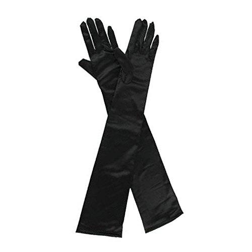 ウェディング ロング グローブ ストレッチ サテン素材 オペラグローブ イブニンググローブ ブライダル 手袋 フリーサイズ 約55cm 黒