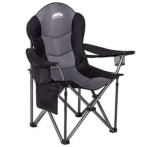 Coastrail Outdoor Camping Chair with Lumbar Back Support, Oversized Padded Lawn Chairs Folding Quad Arm Chair with Cooler Bag, Cup Holder, Black, xx-Large