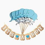 Hilai Baby Shower Kuchen-Dekoration Satz von 10 Stück Blue Elephant-Kuchen-Deckel und es ist EIN Boy Banner für Baby-Party Supplies