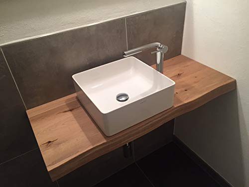 Waschtisch Eiche massiv, Waschtischplatte, Massivholz mit grober Baumkante