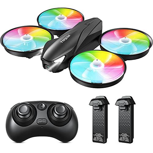 Tomzon Mini Drohne für Kinder, Bunte LED Drohne RC Quadrocopter Kopflos Modus Höhenlage, Fernbedienung 3D Flips, Ein-Taste-Rückgabe, 3 Geschwindigkeiten, Spielzeug für Jungen Mädchen Anfänger, 2 Akkus
