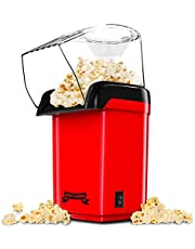 Gadgy Popcornmachine met hete lucht l gezond, olievrij/vetvrij l Met maatschep en afneembaar deksel | Retro rood | 27 x 18.5 x 13 cm