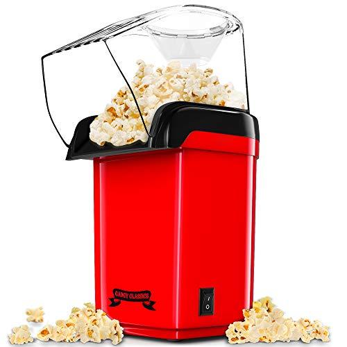 Gadgy  Macchina per popcorn ad Aria Calda Veloce l Sano, senza olio e senza grassi l Con misurino e coperchio superiore rimovibile l Edizione retrò rossa