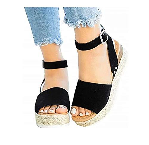 Wxyfl Sandalias Cuña Mujer Verano Plataformas Cáñamo Fondo Grueso Sandalias Peep Toe Alpargatas Playa Tacón 2 Inches Zapatos De Vestir,Negro,38