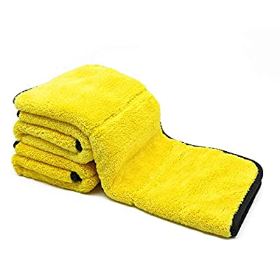 Auto Care 920GSM Super Thick Microfiber Car Cleaning Cloth Detailing Towel 15'' x 17.7'' (Yellow/Gray-3PCS)