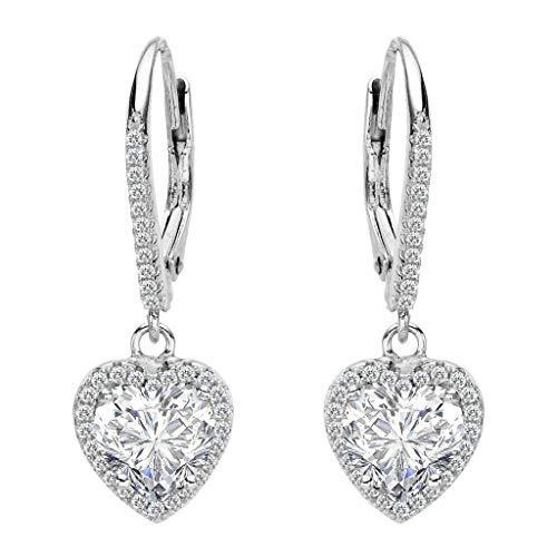 Clearine Women's 925 Sterling Silver Wedding Bridal Cubic Zirconia Elegant Love Heart Shape Leverback Dangle Earrings Clear