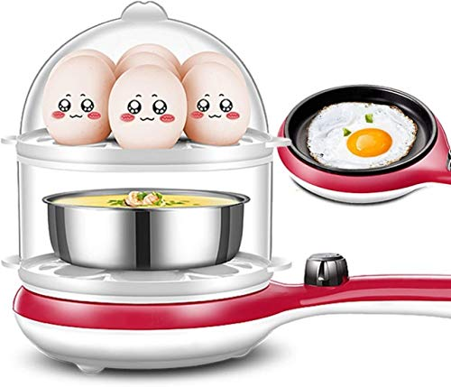 MGWA Caldera de huevo eléctrica multifunción olla de huevo cocida al vapor, 14 huevos de capacidad (color: rojo)