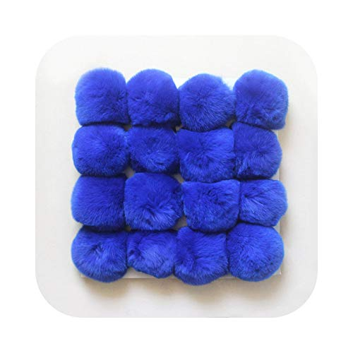 Pompom Ball, 16 Pieces/Set of DIY Fur for Keyrings, Bags and Hats - Royal Blue