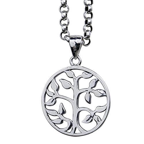ZGYQGOO 925 Silberne hängende Halskette, Kleiner Anhänger des Lebensbaums für Mann und Frau