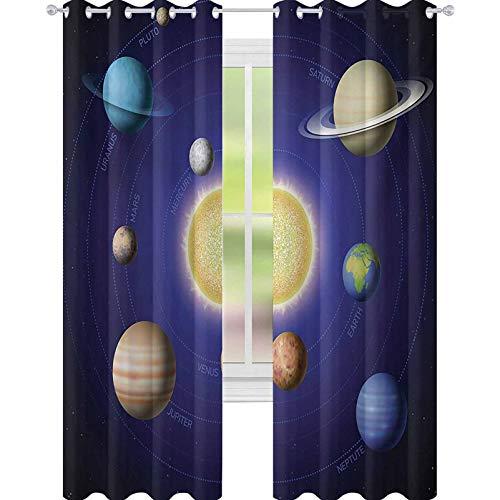 YUAZHOQI - Cortina aislante, térmica, con sistema solar, diseño de planetas alrededor del sol, armonía de la galaxia, imagen de la sala de ciencia, 52 x 241 cm, para puerta de cristal