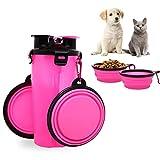 2-en-1 Perro Botella de agua Dispensador de alimentos con 2 plegables Cuencos para perros, Prueba de fugas Comedero para perros, Gato y cachorro Al aire libre De Viaje Caminar Caminata Acampar, Rosado