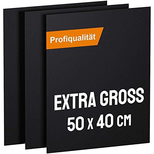 KOMOTO® BBQ Grillmatte (3er Set) 50x40 cm I Extra Dick I Für Gasgrill und Holzkohle